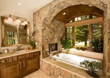 Traditional and rustic design elements come together in this dreamy bathroom [Design: Katy Allen, Nella Designs]