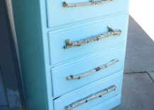 Tree Branch DIY Drawer Pulls on Baby Blue Dresser