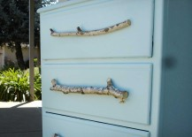 Tree Branches turned into DIY Drawer Pulls for Blue Dresser 217x155 8 DIY Ideas for Inexpensive Drawer Pulls You Can Make Yourself