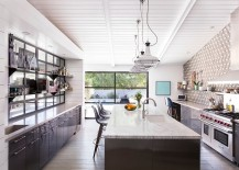 Trendy industrial pendants for the modern kitchen in white [Design: Brown Design Group]