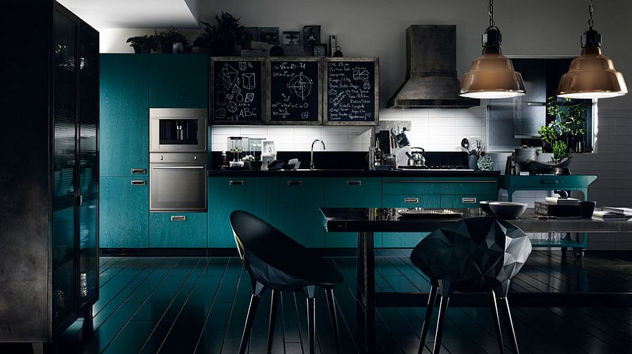 Trendy kitchen composition with distinct industrial style