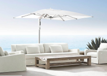 Tucci Restoration Hardware 217x155 Not Just for the Beach: How to Use Umbrellas in Your Garden or Patio