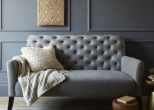Tufted settee in a grey room with grey trim 217x155 Painting and Design Tips for Dark Room Colors