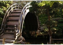 Unique bridge in the Japanese Tea Garden in San Francisco