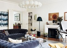 Urban chic living room of the trendy Paris apartment 217x155 Decorating Parisian Style: Chic Modern Apartment by Sandra Benhamou