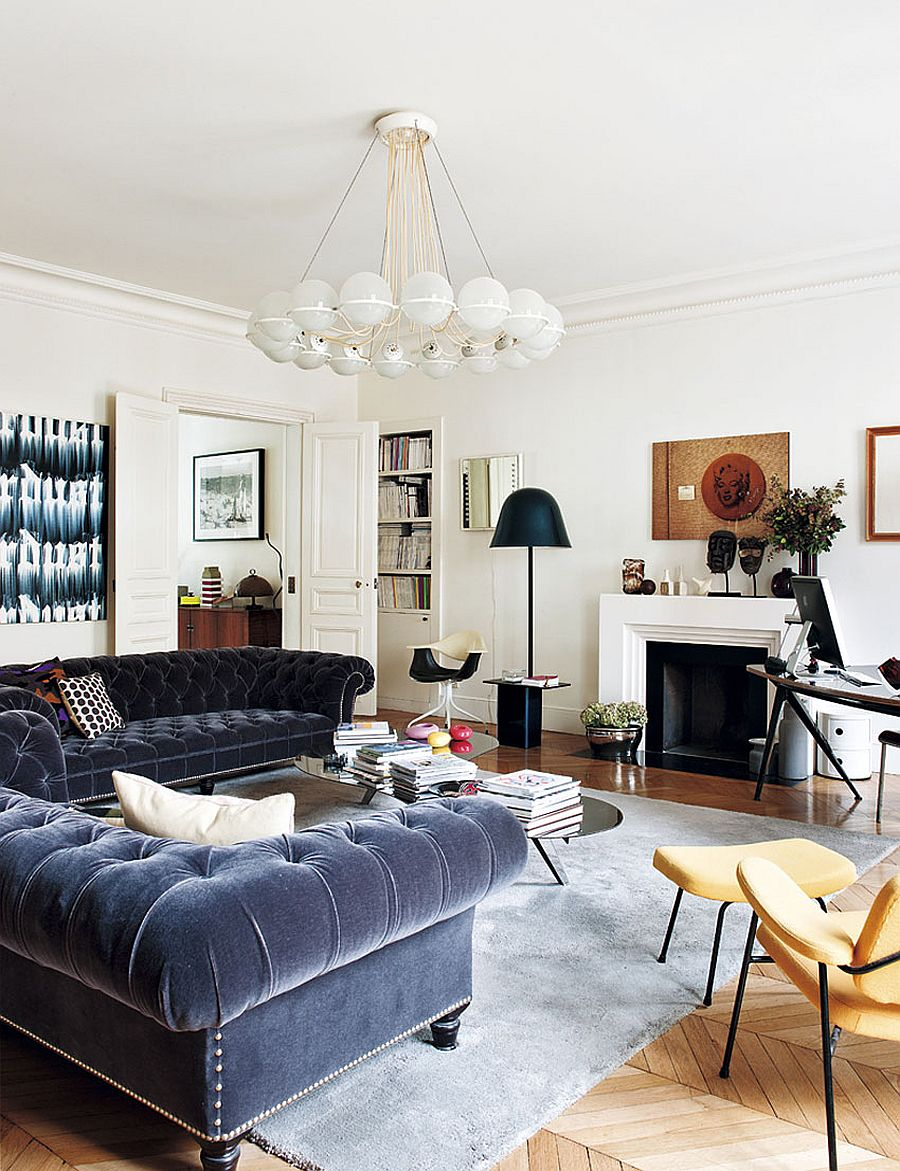 Urban chic living room of the trendy Paris apartment