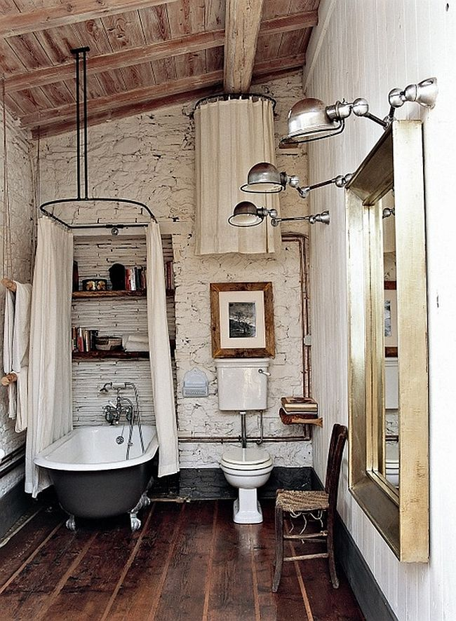 Vintage rustic bathroom design with claw-foot bathtub