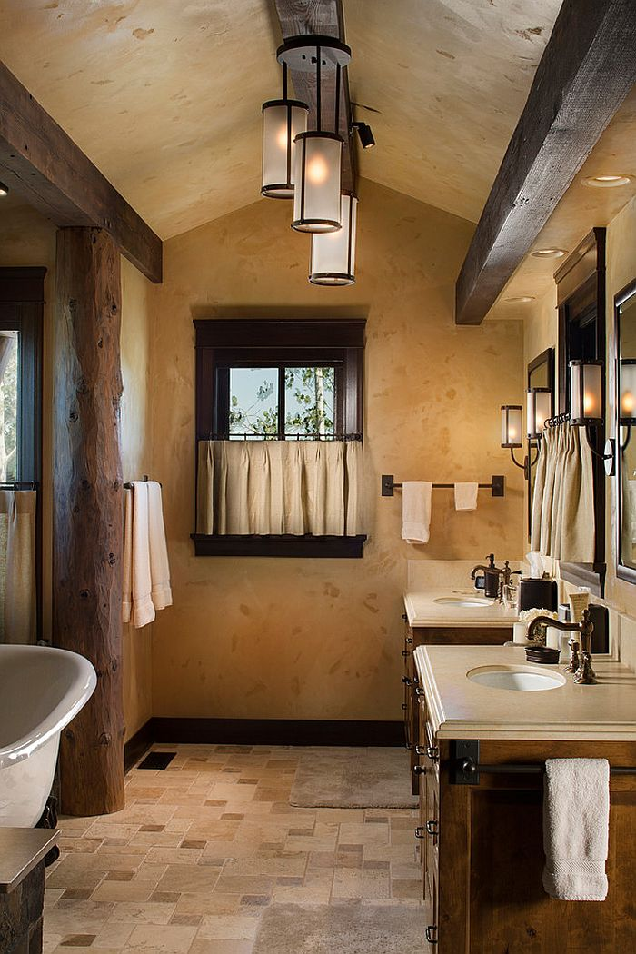 Wall treatment adds textural elegance to the bathroom [Design: Shannon Callaghan Interior Design]
