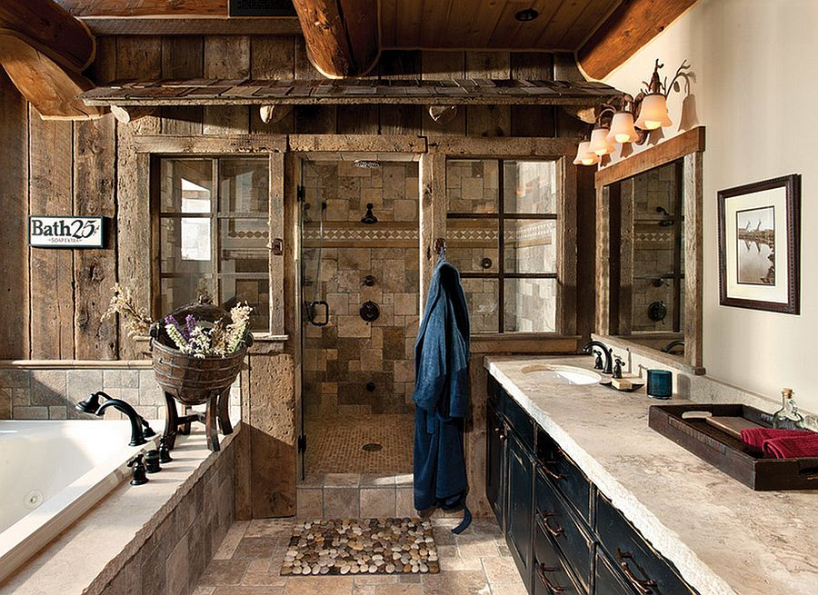 Weathered wood panels bring rustic beauty to this bathroom [Design: M.T.N Design]