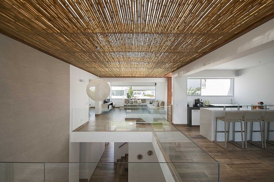 White and brown dominate the interior of the Panda House