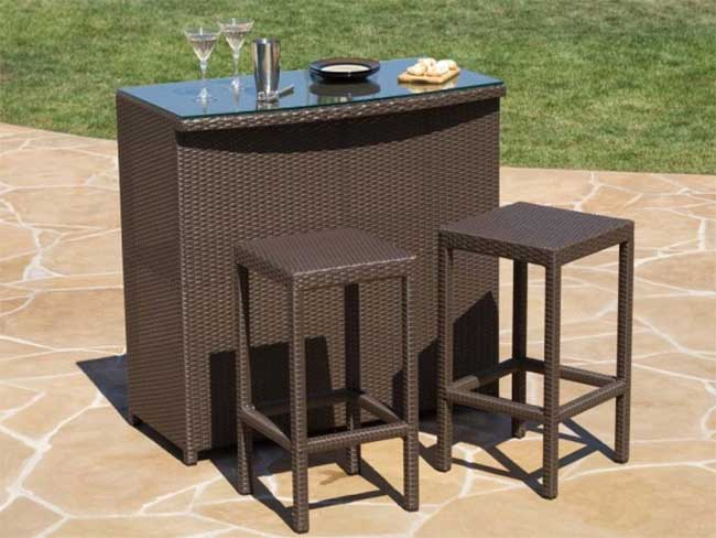 Wicker Resin Bar Top with Matching Stools