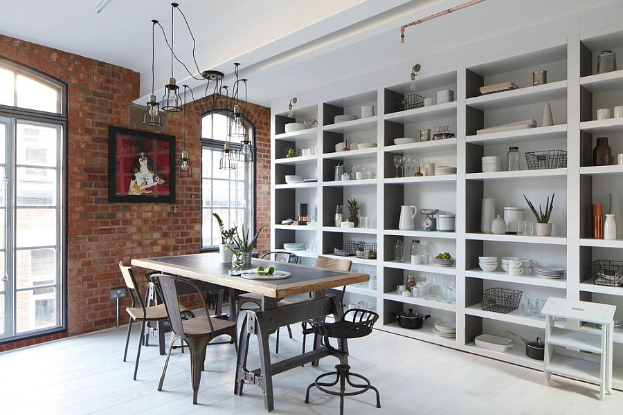 Wiry pendants seem to melt away into the brick wall backdrop [Design: Oliver Burns]