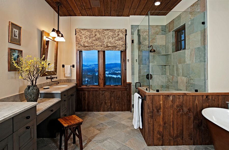 Wood panels and glass shower area for the modern rustic bathroom [Design: Bulhon Design Associates]