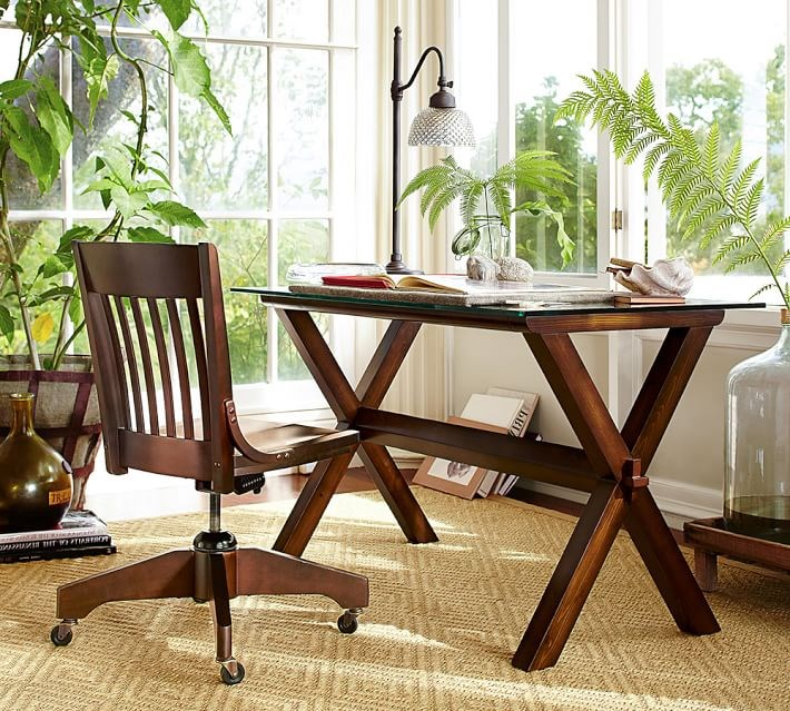 Home Offices Featuring Trestle Tables As Desks - Pottery barn trestle dining table