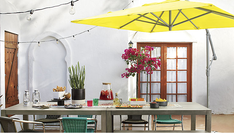 This umbrella's large enough to protect a whole table