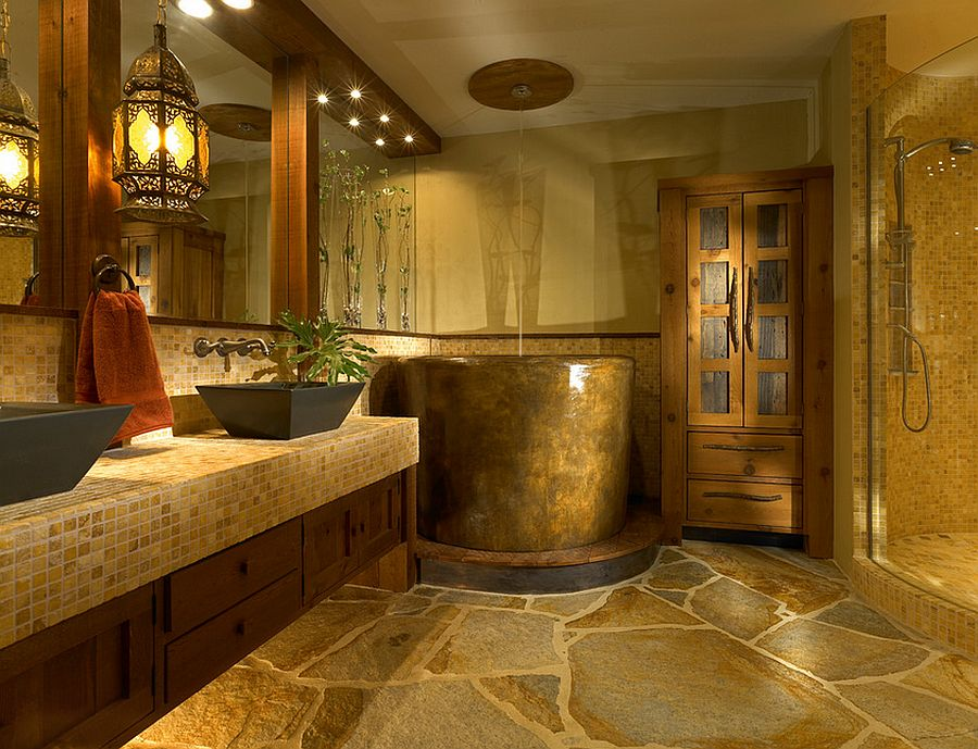 Zen-like luxury bath with Japanese soaking tub [Design: Jonathan McGrath Construction]