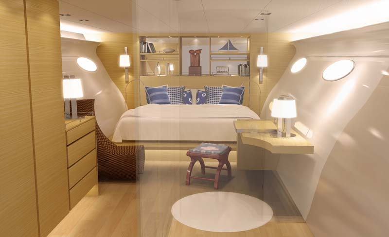 You can see the shape of the yacht in this bedroom
