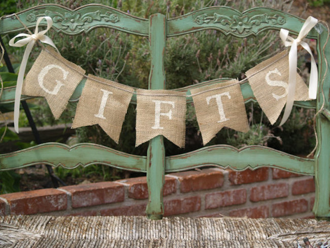 Burlap cut into banner shapes and strung together