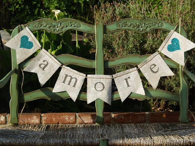 Burlap banners can be used to celebrate a wedding or other event