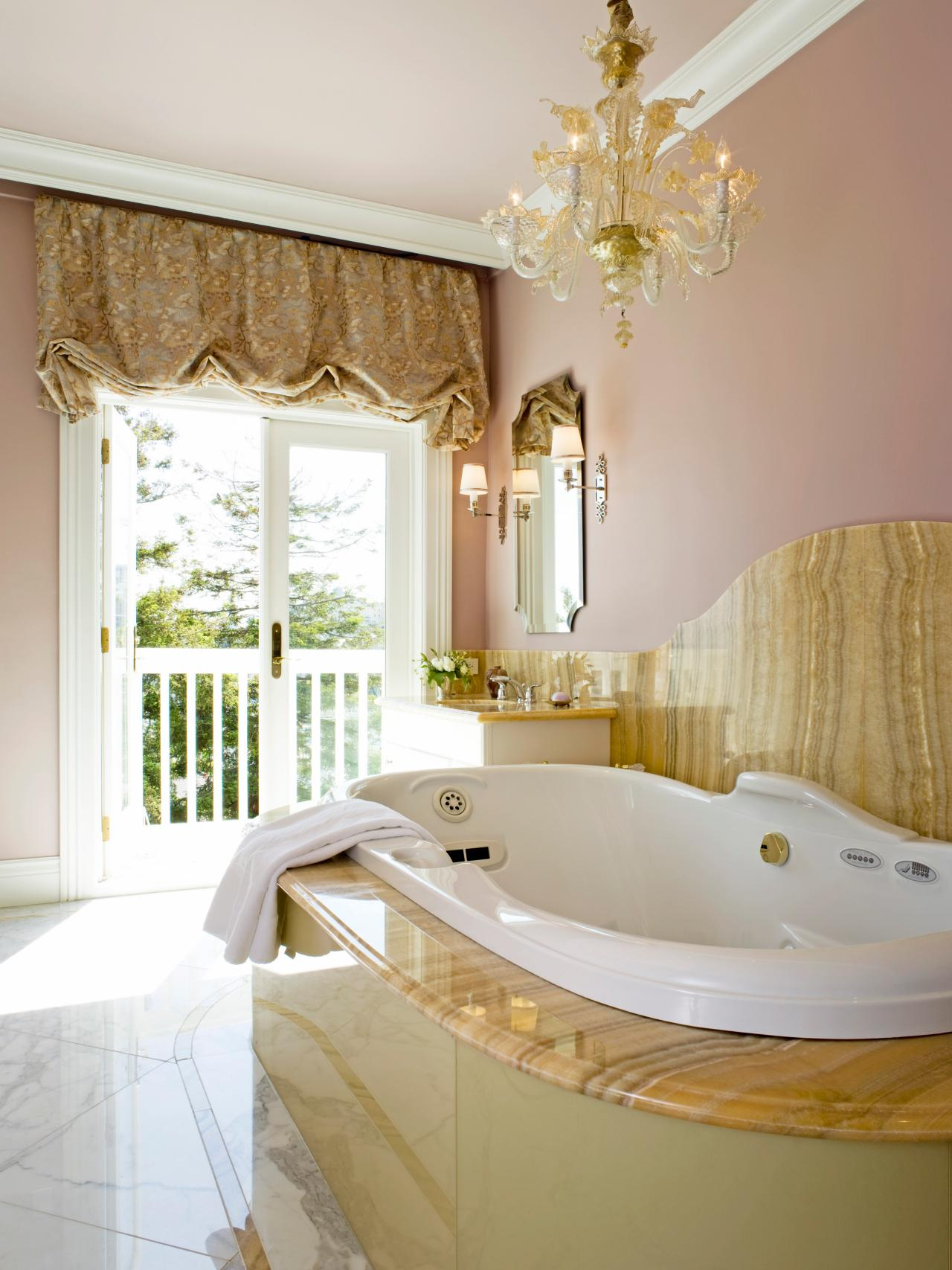 20 luxurious bathrooms with elegant chandelier lighting view in gallery bathroom lighting 13 aloadofball Image collections