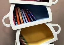 bookshelf upside down teacups