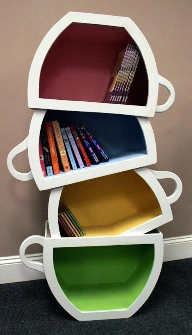 bookshelf upside down teacups