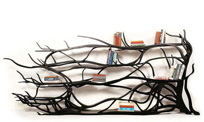 bookshelves black tree branches