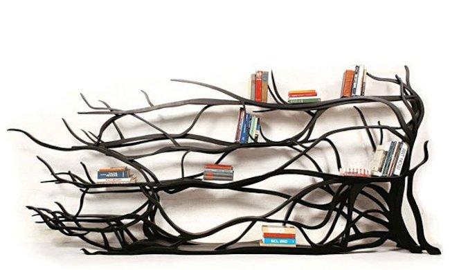 bookshelves black tree branches