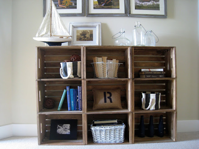 bookshelves crates