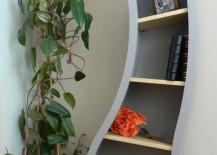 bookshelves curved blue