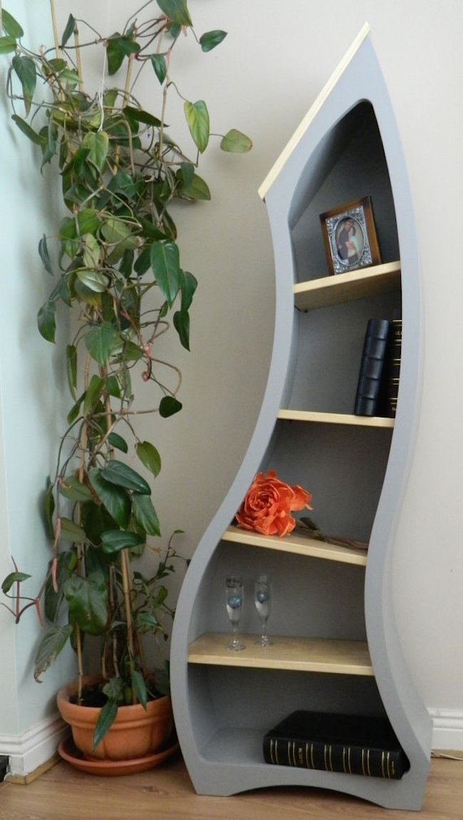 bookshelves curved blue