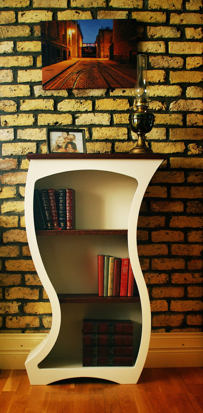 bookshelves curved white