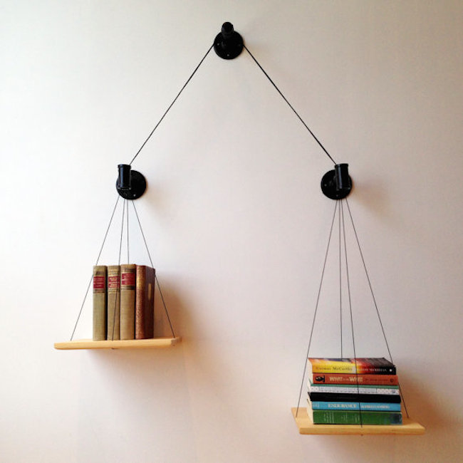 bookshelves floating