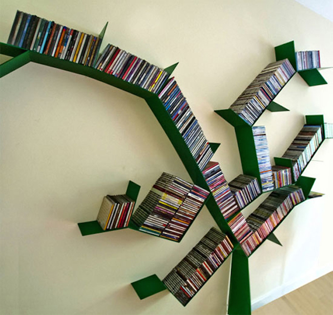 bookshelves green tree
