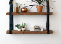 bookshelves leather and wood