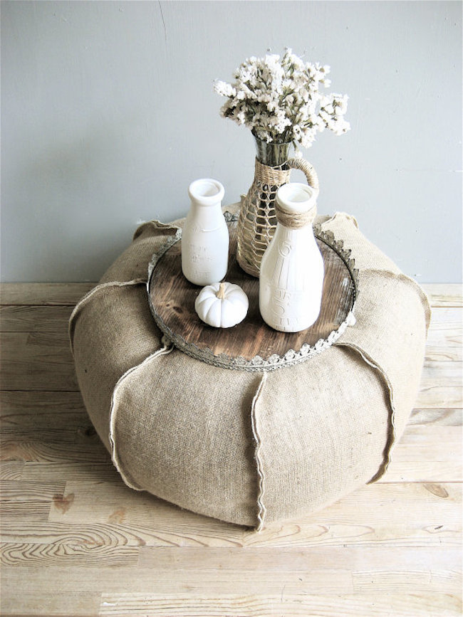 Ottoman made out of burlap