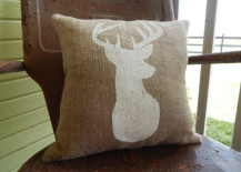 Burlap accent pillow with deer design