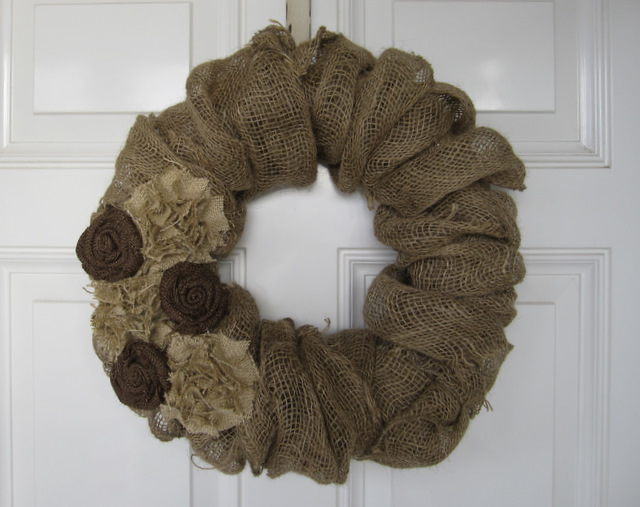 Burlap fabric used to make a decorative wreath