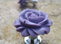 Cute flower-themed door knob in purple