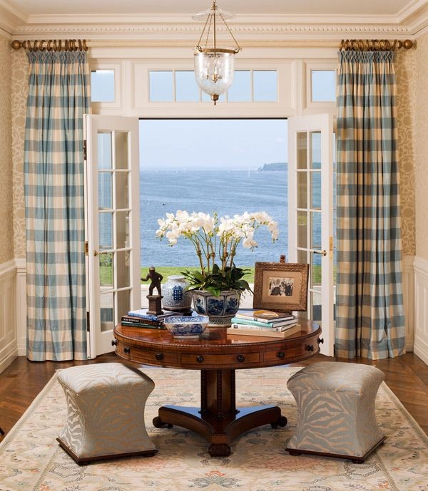Bathroom Wallcovering French Toile Room Decor Bathroom: French Doors Drapes Black White Toile