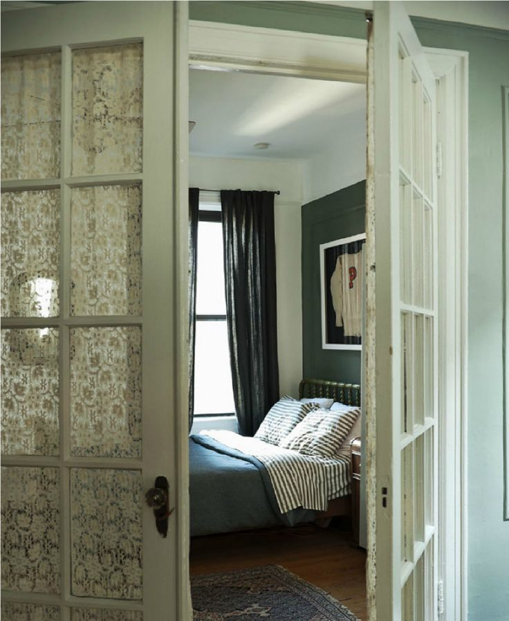 french doors covering lace