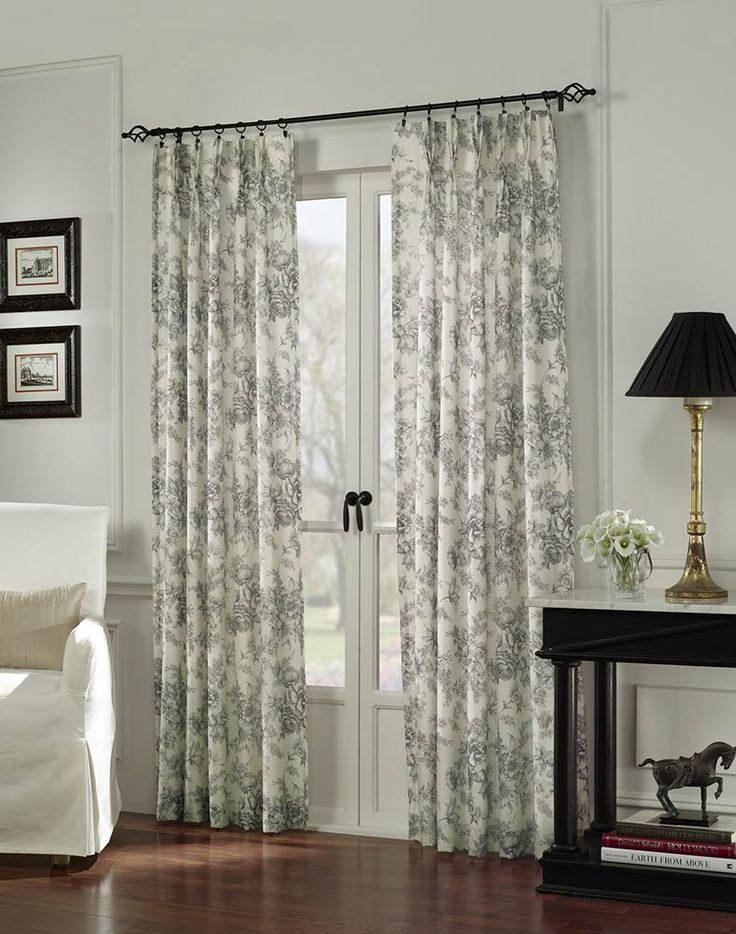 french doors drapes black white toile