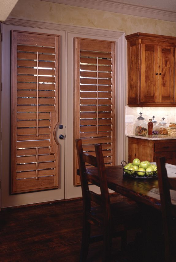 15 brilliant french door window treatments for Wood doors and shutters
