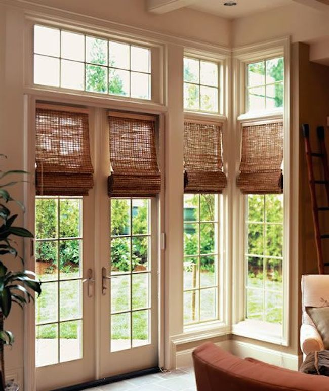 Window Treatments For Interior French Doors Woven Wood Shades Intended Ideas