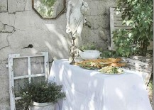 Outdoor dining area in the garden