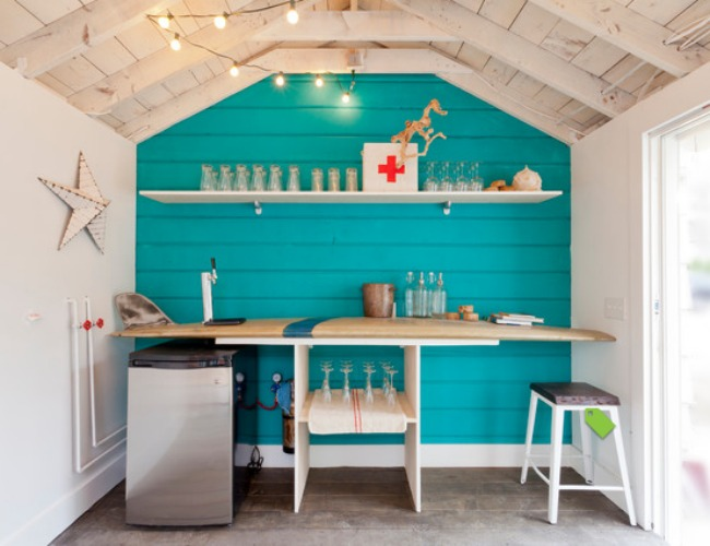 Beach style home bar is perfect for some fun summer evenings