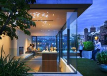 Home bar with rooftop garden and glass walls