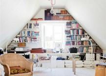 home office attic bookshelves
