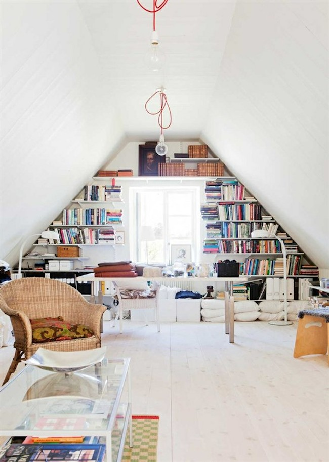 home office attic bookshelves