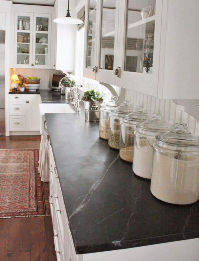 kitchen lined up jars